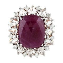 9.0 Carat Ruby Diamond Sapphire 18 Karat Cocktail Ring