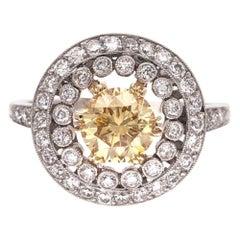 .90 Carat Yellow Diamond Platinum Engagement Cocktail Ring Fine Estate Jewelry