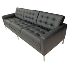 Florence Knoll Black Leather Sofa
