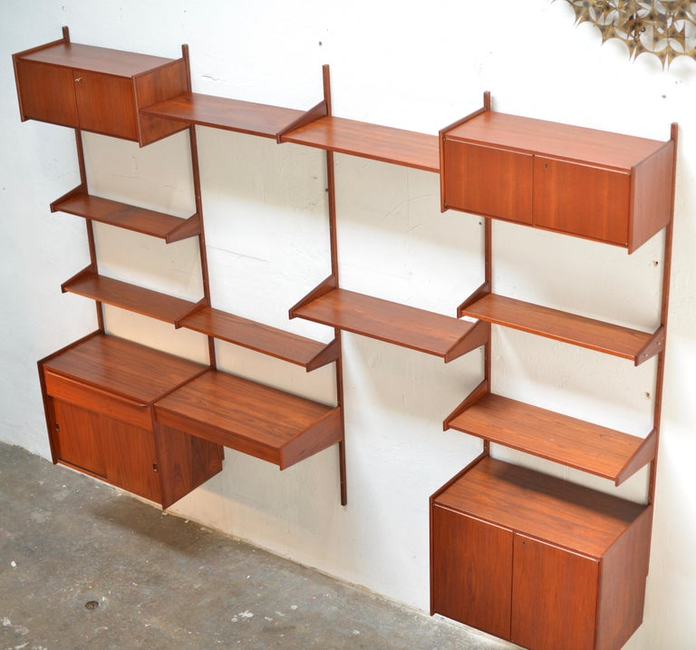 Mid-Century Modern 90 Piece Teak Wall Unit by Scandiline, Norway Customizable For Sale