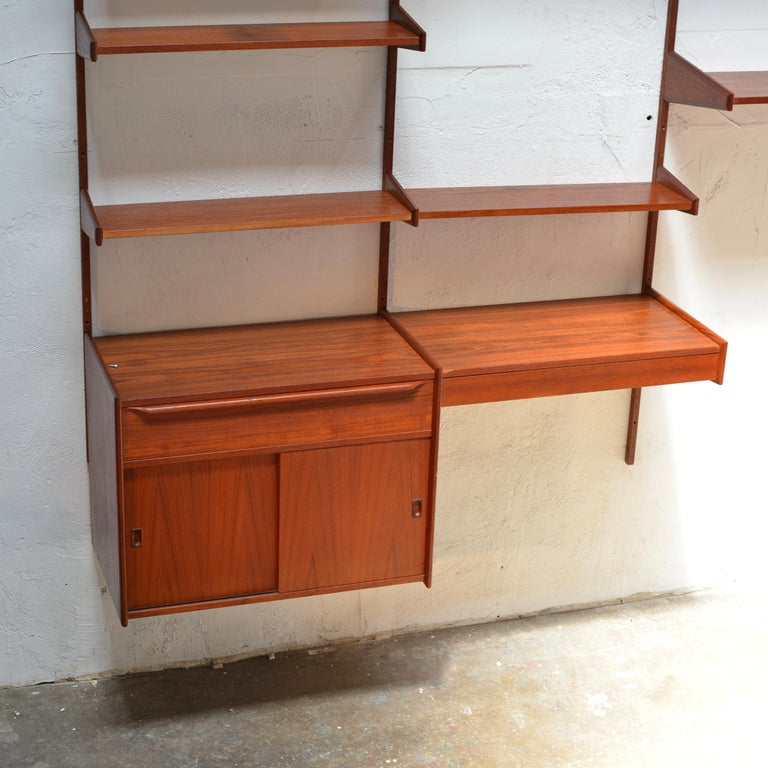 Oiled 90 Piece Teak Wall Unit by Scandiline, Norway Customizable For Sale
