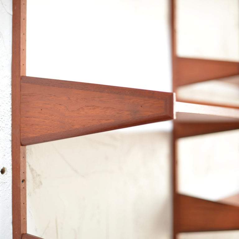 90 Piece Teak Wall Unit by Scandiline, Norway Customizable In Excellent Condition For Sale In Los Angeles, CA