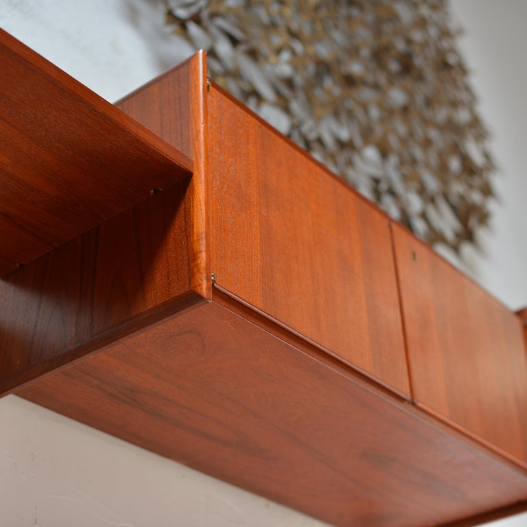 90 Piece Teak Wall Unit by Scandiline, Norway Customizable For Sale 1