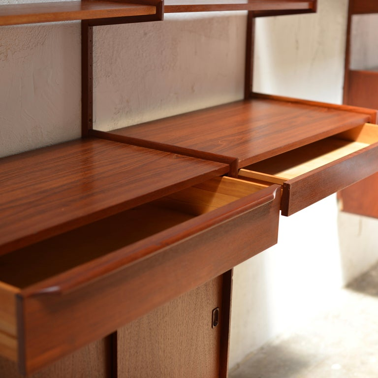 90 Piece Teak Wall Unit by Scandiline, Norway Customizable For Sale 2
