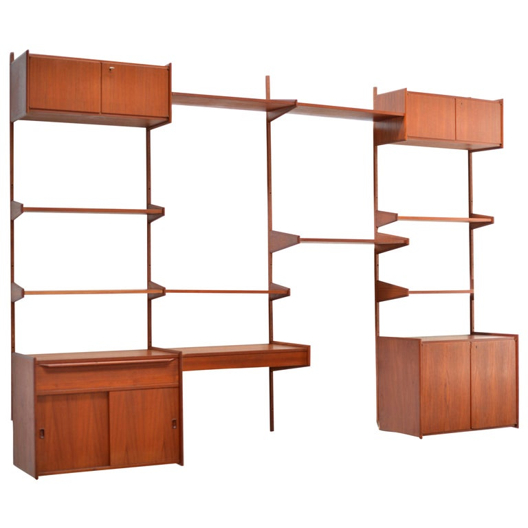 90 Piece Teak Wall Unit by Scandiline, Norway Customizable For Sale