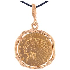 90% Pure Gold Indian Half Eagle Coin Framed in Hand-Crafted Rose Gold Pendant