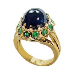 9.00 Carat Cabochon Cut Blue Sapphire Emerald Ring 18 Karat