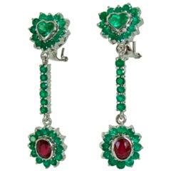 9.00 Carat Colombian Emerald Ruby Dangle Earrings 18 Karat