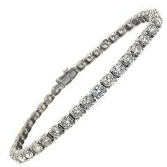 9.00 Carat Diamond Line Bracelet 18 Carat White Gold