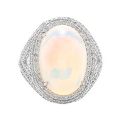 9.00 Carat Natural Impressive Ethiopian Opal and Diamond 14K Solid Gold Ring
