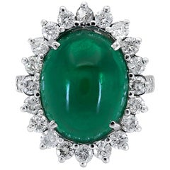 9.00 Carat Oval Cabochon Emerald and Diamond Flower Halo Cocktail Ring