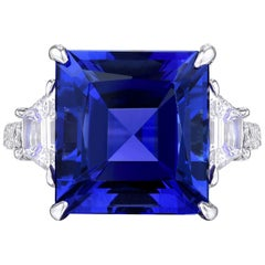 9.00 Carat Platinum Tanzanite & Diamond Trapezoid Cocktail Ring