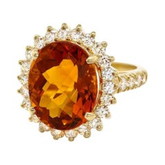 9.00 Carats Natural Citrine and Diamond 14k Solid Yellow Gold Ring