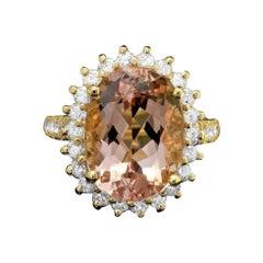 9.00 Carats Natural Morganite and Diamond 14k Solid Yellow Gold Ring