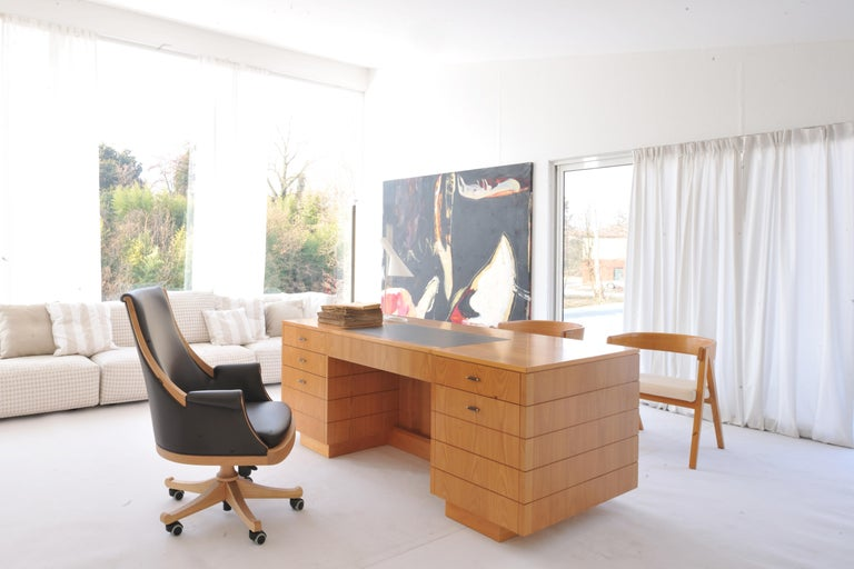 Roma desk, is a '900 style professional writing desk made of cherrywood with many drawers, hidden storages, leather coated flapping top Available in different wood colors and leathers.