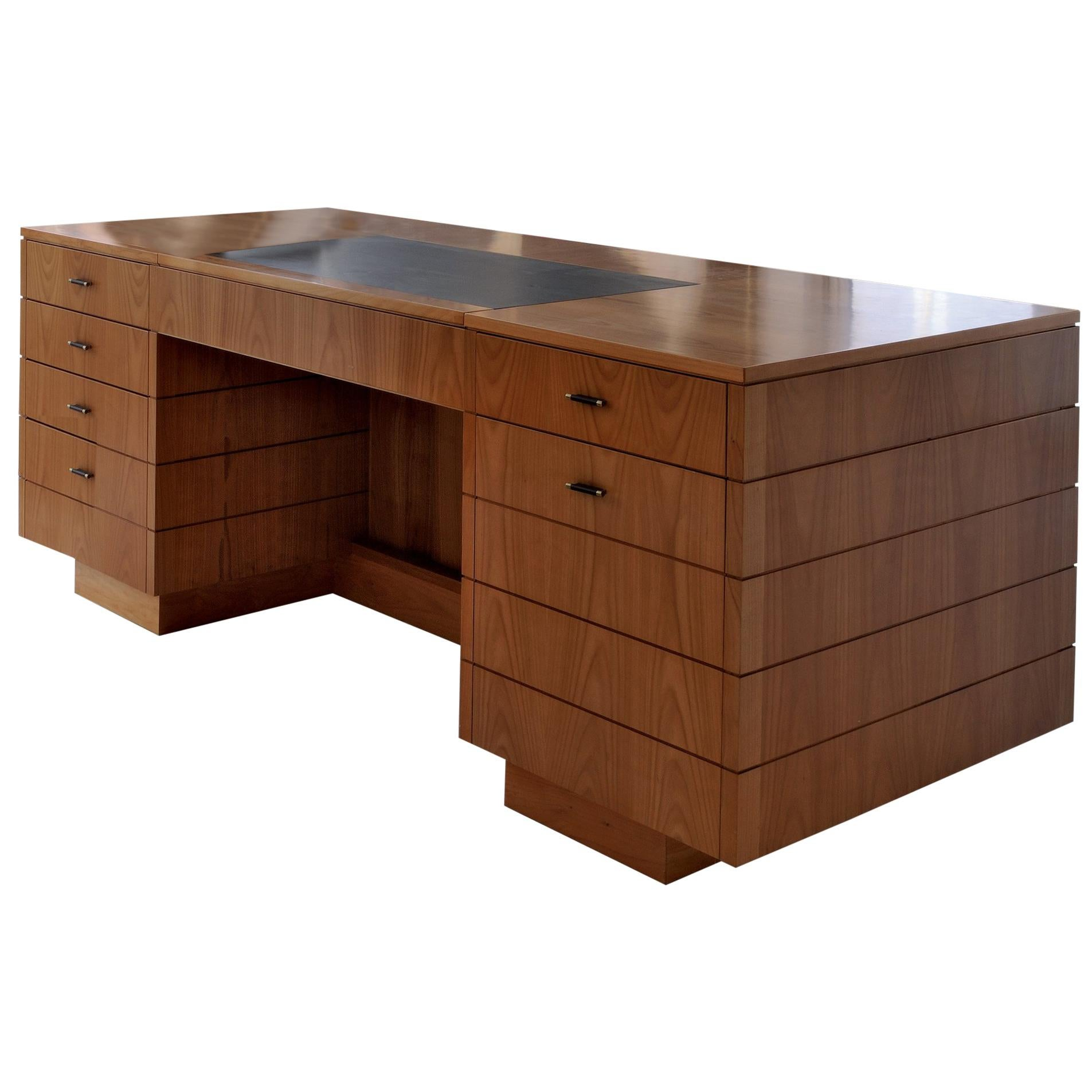'900 Style Wooden Desk in Cherry Wood with Leather Top and Drawers
