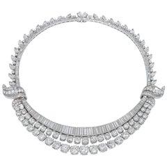 1950s 90.00 Carat Platinum and Diamond Collar Necklace  GIA Certificate