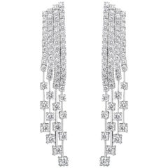 9.01 Carat Round Diamond Fringe Dangle Earrings