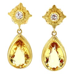 9.01 Carat Total Golden Beryl and Diamond Drop Dangle Yellow Gold Earrings