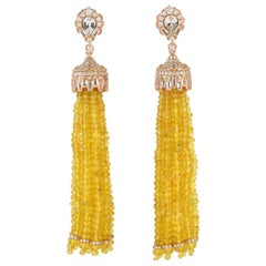 90.11 Carat Yellow Sapphire Diamond 18 Karat Gold Tassel Earrings