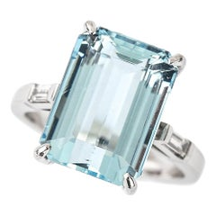 9.02 Carat Aquamarine and Diamond 18 Karat White Gold Ring