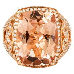 9.03 Carat Cushion Shaped Morganite Ring in 18 Karat Rose Gold with Diamonds