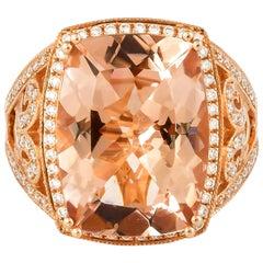 9.03 Carat Cushion Shaped Morganite Ring in 18 Karat Rose Gold with Diamonds