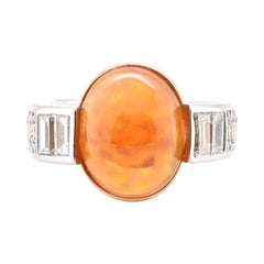 9.03 Carat, Natural Fire Opal and Diamond Cocktail Ring Set in Platinum and 18k
