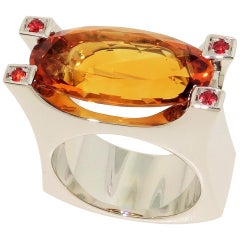 9.03 Carat oval Citrine and Sapphire Cocktail Statement Ring Estate Fine Jewelry