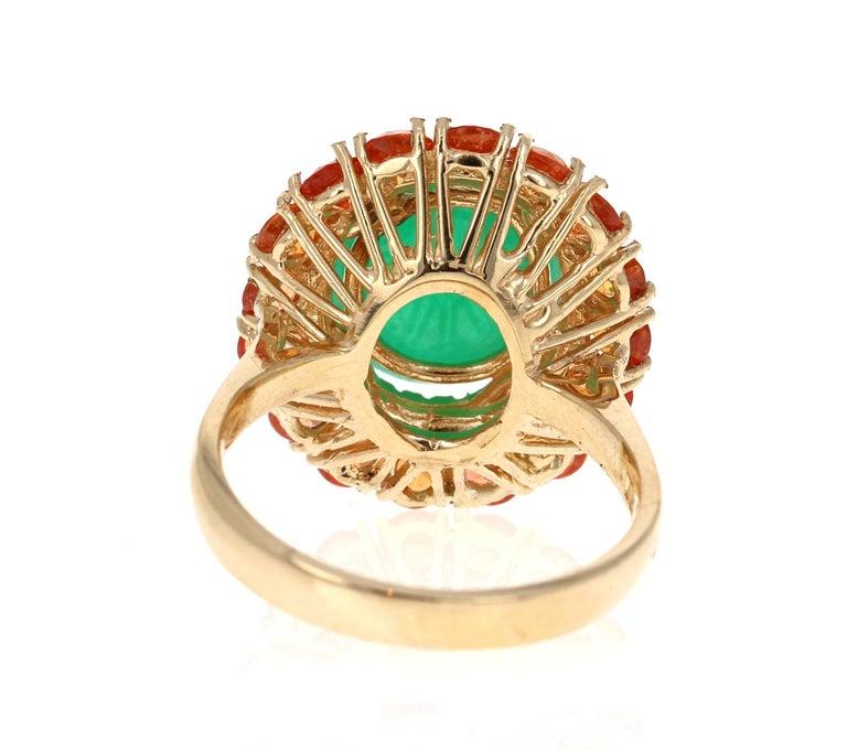 Oval Cut 9.04 Carat Emerald Sapphire Diamond 14 Karat Yellow Gold Cocktail Ring For Sale