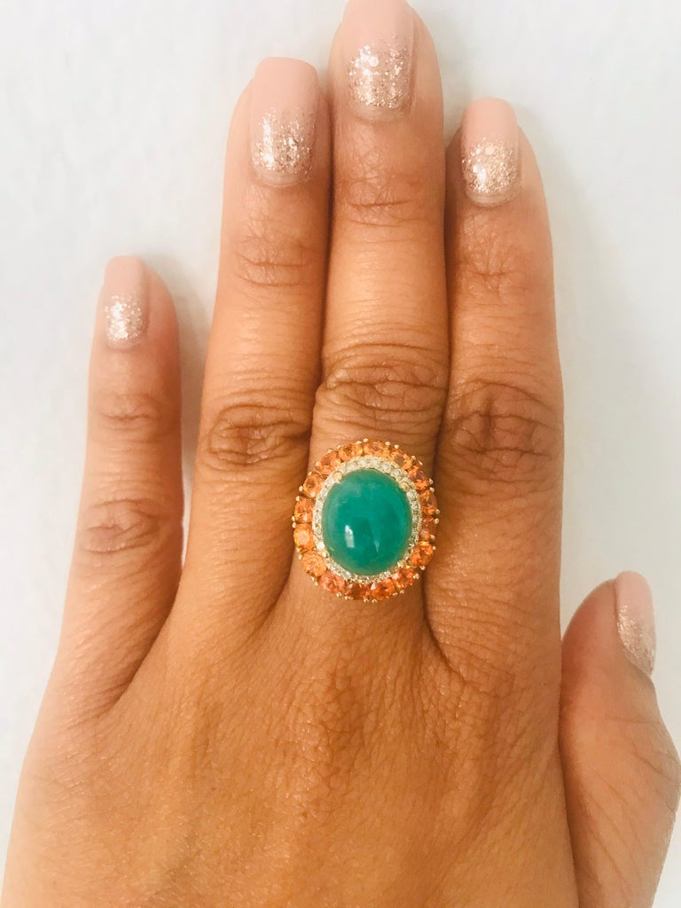 9.04 Carat Emerald Sapphire Diamond 14 Karat Yellow Gold Cocktail Ring In New Condition For Sale In San Dimas, CA