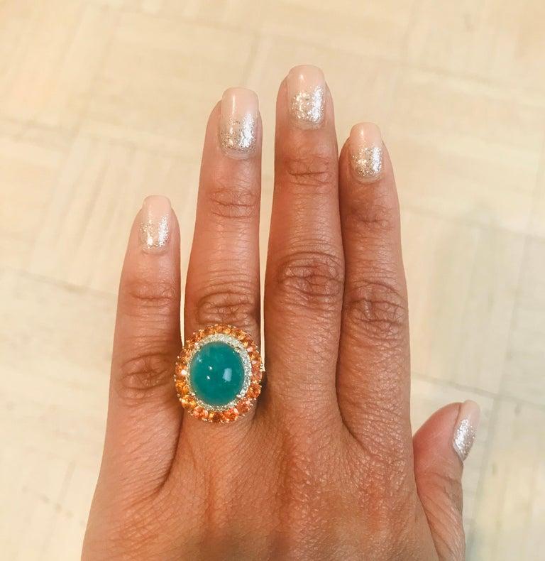 Women's 9.04 Carat Emerald Sapphire Diamond 14 Karat Yellow Gold Cocktail Ring For Sale