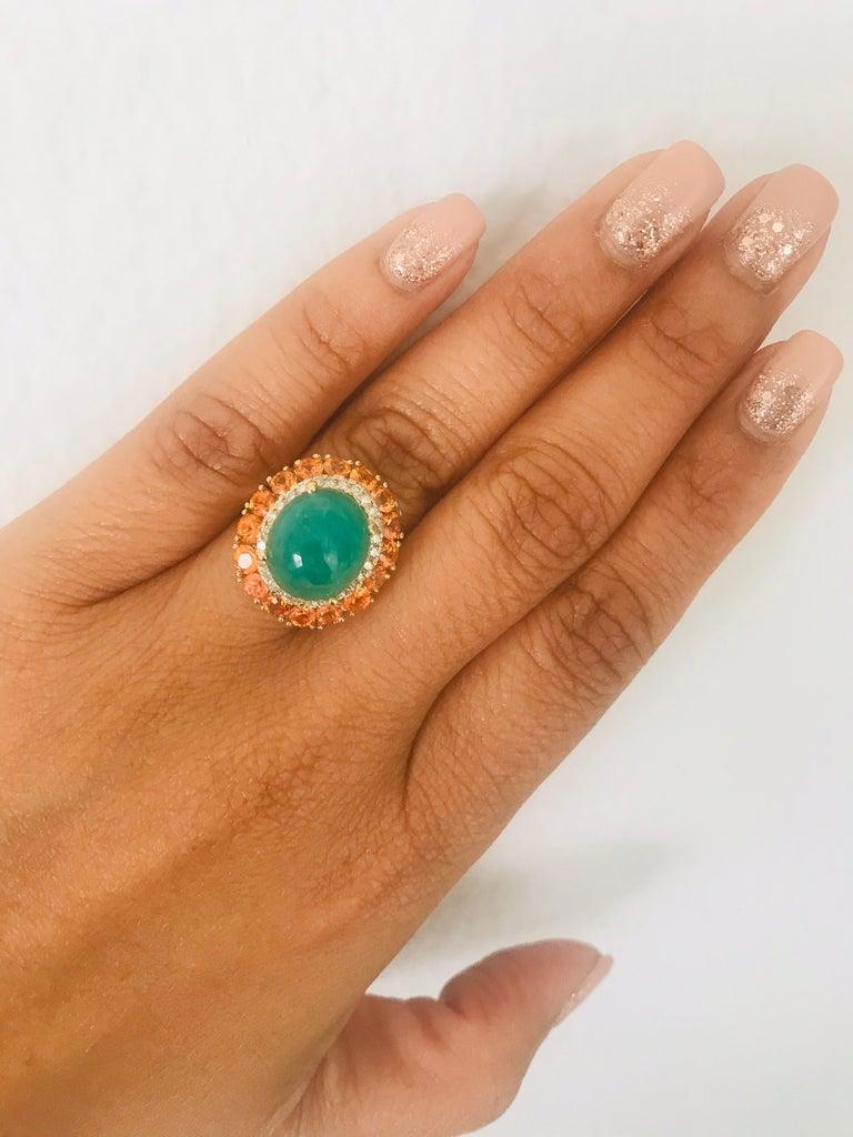 9.04 Carat Emerald Sapphire Diamond 14 Karat Yellow Gold Cocktail Ring For Sale 1