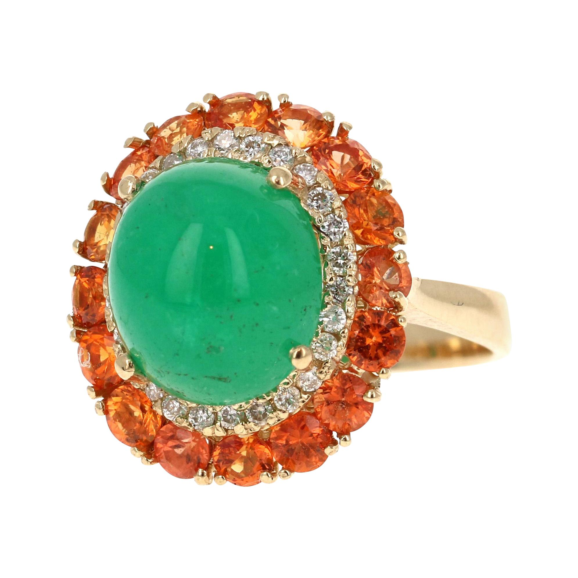 9.04 Carat Emerald Sapphire Diamond 14 Karat Yellow Gold Cocktail Ring