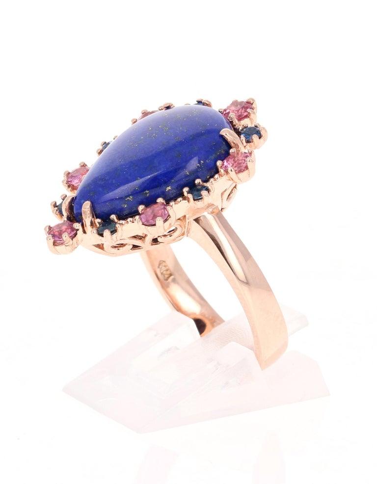 Modern 9.04 Carat Lapis Lazuli Tourmaline and Sapphire Cocktail 14 Karat Rose Gold Ring For Sale