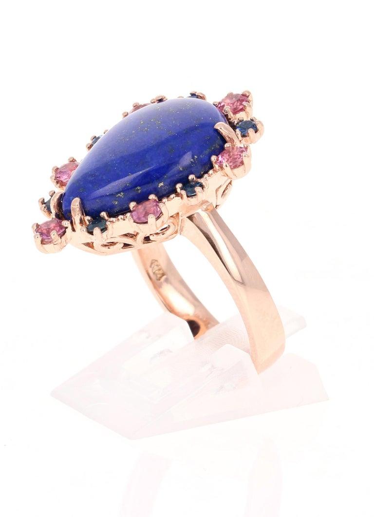 Pear Cut 9.04 Carat Lapis Lazuli Tourmaline and Sapphire Cocktail 14 Karat Rose Gold Ring For Sale