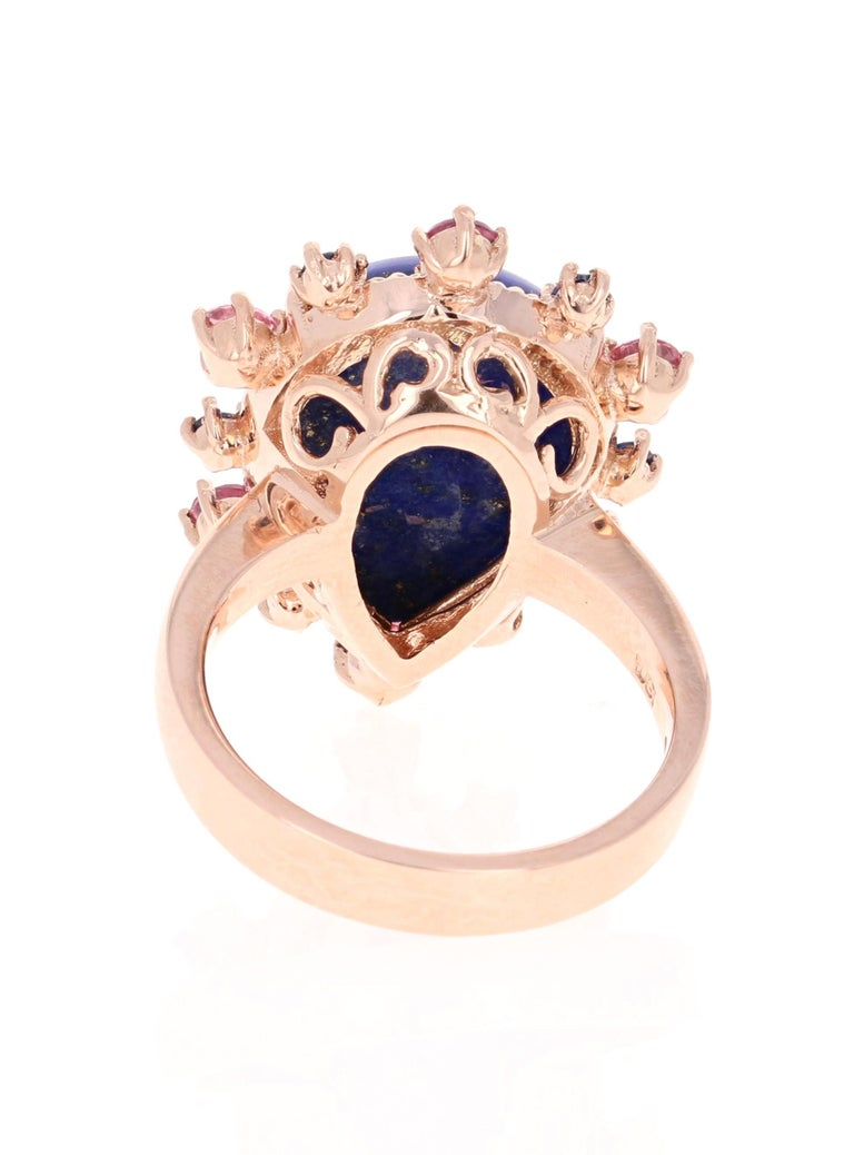 9.04 Carat Lapis Lazuli Tourmaline and Sapphire Cocktail 14 Karat Rose Gold Ring In New Condition For Sale In San Dimas, CA
