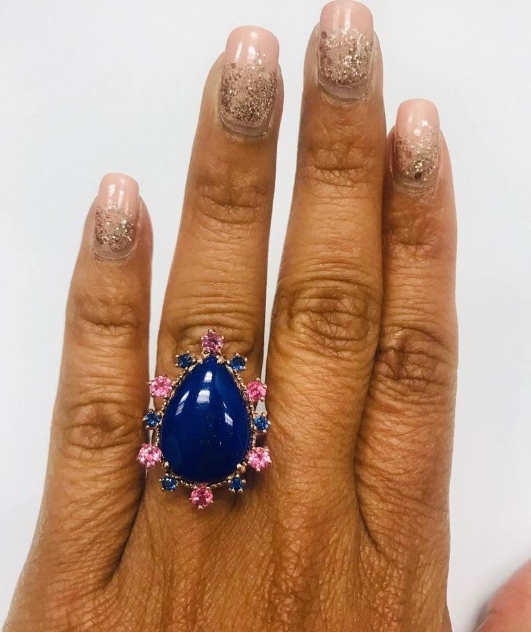 9.04 Carat Lapis Lazuli Tourmaline and Sapphire Cocktail 14 Karat Rose Gold Ring For Sale 2