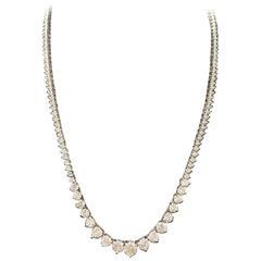 9.05 Carat Diamond White Gold Riviera Graduated Tennis Necklace