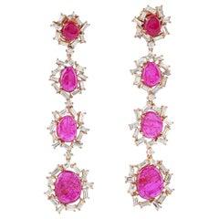 9.05 Carat Ruby Baguette Diamond 18 Karat Gold Earrings