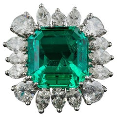 9.06 Carat Emerald and Diamond Ring, AGL Certified 'Insignificant to Minor Trea