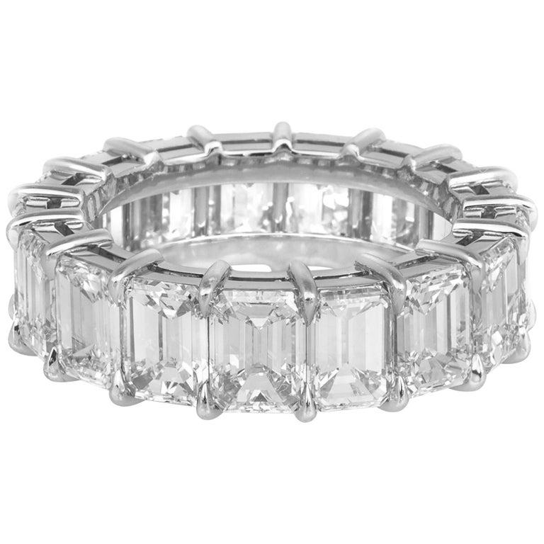 9.06 Carat Emerald Cut Diamond Eternity Band For Sale