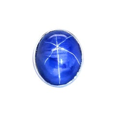 90.63ct Natural Ceylon No Heat Star Sapphire 18K White Gold Ring