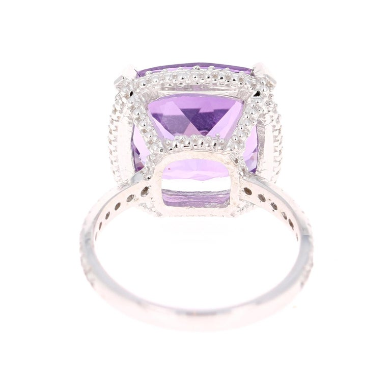 9.07 Carat Cushion Cut Amethyst Diamond White Gold Bridal Ring In New Condition For Sale In San Dimas, CA