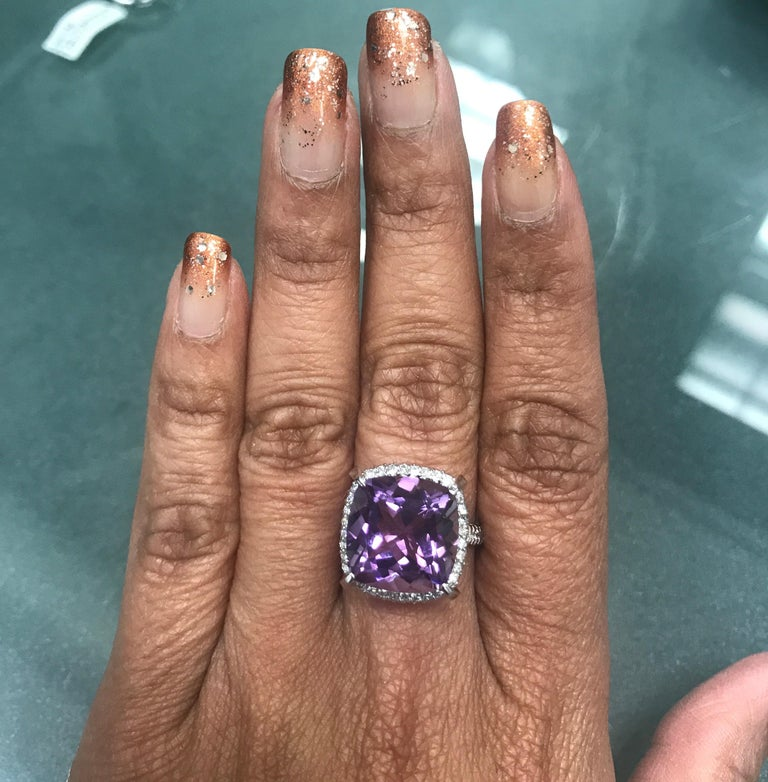 Women's 9.07 Carat Cushion Cut Amethyst Diamond White Gold Bridal Ring For Sale