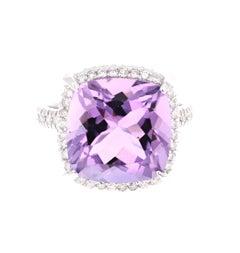 9.07 Carat Cushion Cut Amethyst Diamond White Gold Bridal Ring