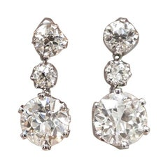 9.07 Carat Dangling Old European Cut Diamond Earrings
