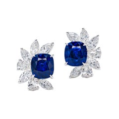 9.07 Carat Royal Blue Sapphire and Diamond Earrings in 18K Gold