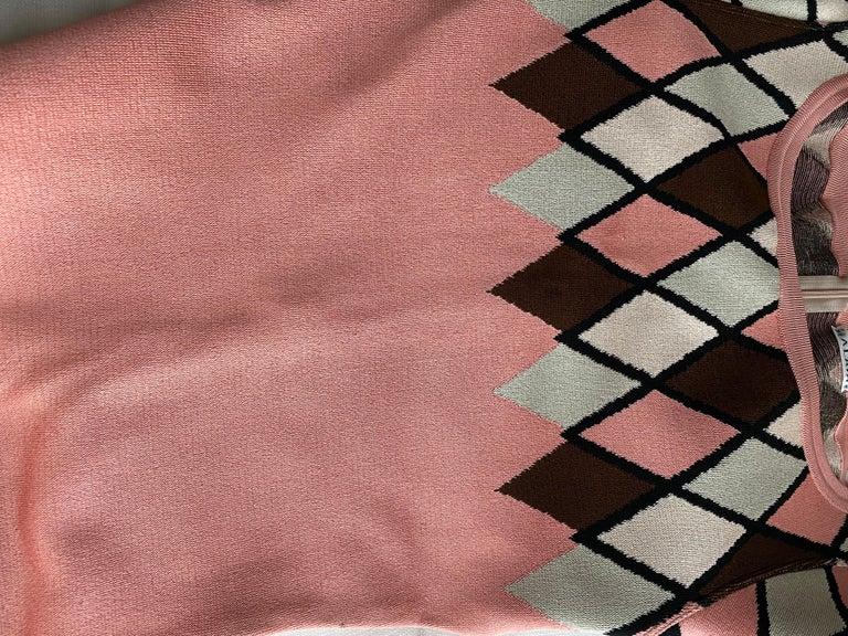 Women's 90s ALAIA pink diamond harlequin print viscose dress For Sale