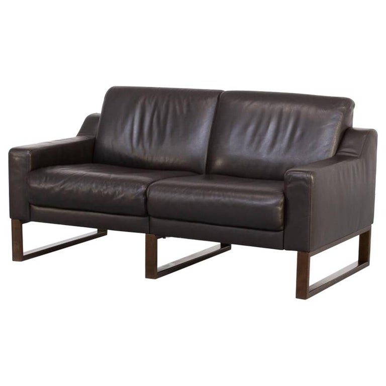 90s Brown Leather Two-Seat Sofa For Sale